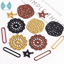DIY accessories alloy spray lacquer hollowed-out round disk five-pointed star earrings earrings material pendant цена