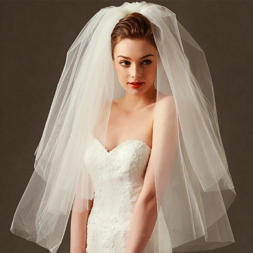 Fashion Wedding Veil Simple Tulle White Ivory Two Layers Bridal Veil Cheap Bride Accessories 75cm Short Women Veils With Comb