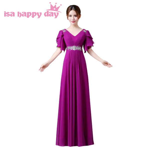 521902549ef3 robe de mariage long plus size purple black elegant bridesmaid with cap  sleeves dresses bridesmaids for