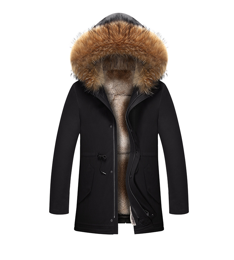 12  2018 new winter men's jacket high quality fur collar coats windproof warm jackets man casual coat clothing