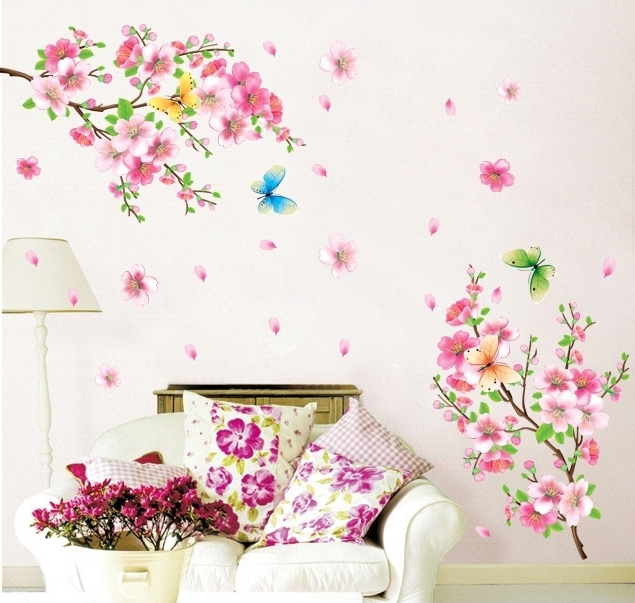 Large Beautiful Peach Blossom Flower Wall Stickers Decals
