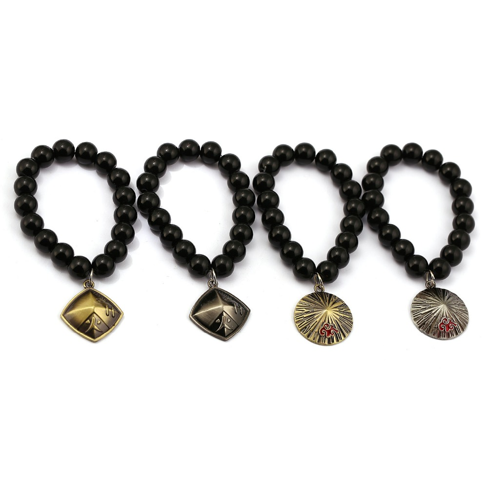 Anime NARUTO Akatsuki Hokage Hat Bracelets Natural Black Onyx Beads Bracelet Men Women Bangle