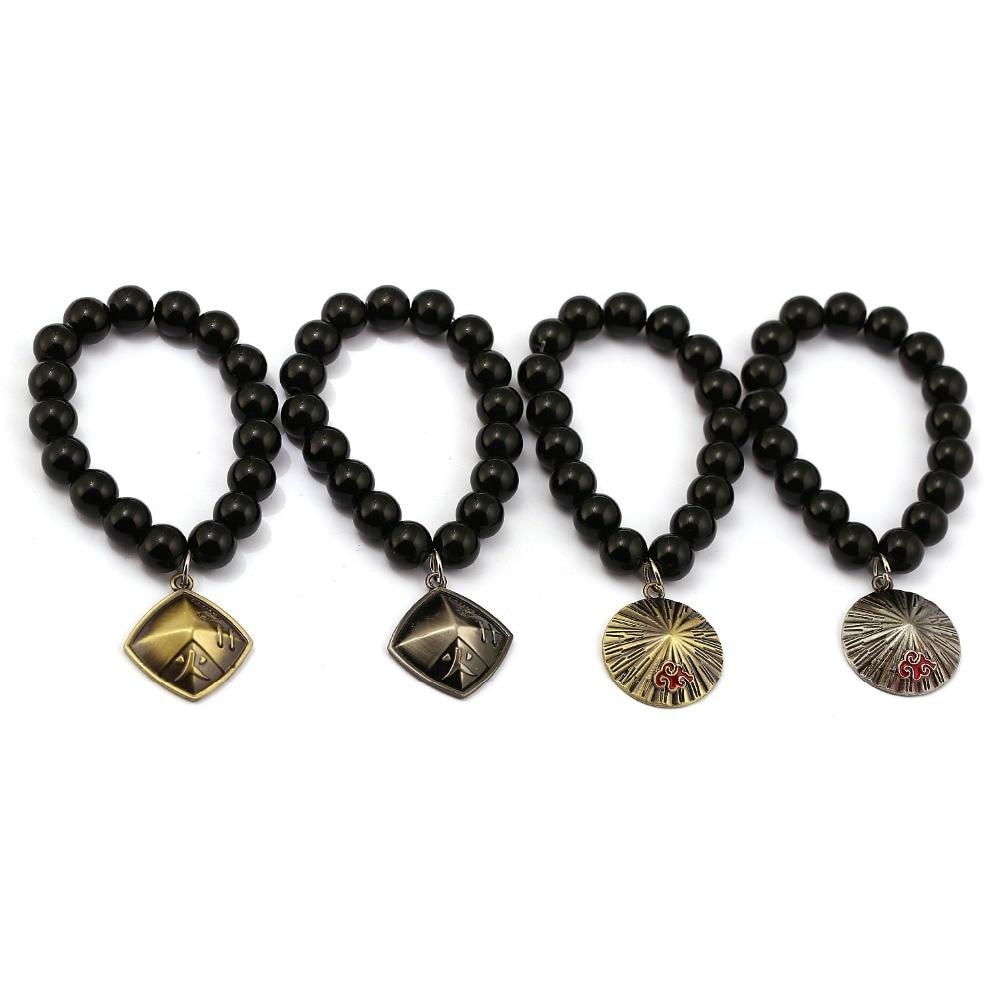 Anime NARUTO Akatsuki Hokage Hat Bracelets Natural Black Onyx Beads Bracelet Men Women Bangle