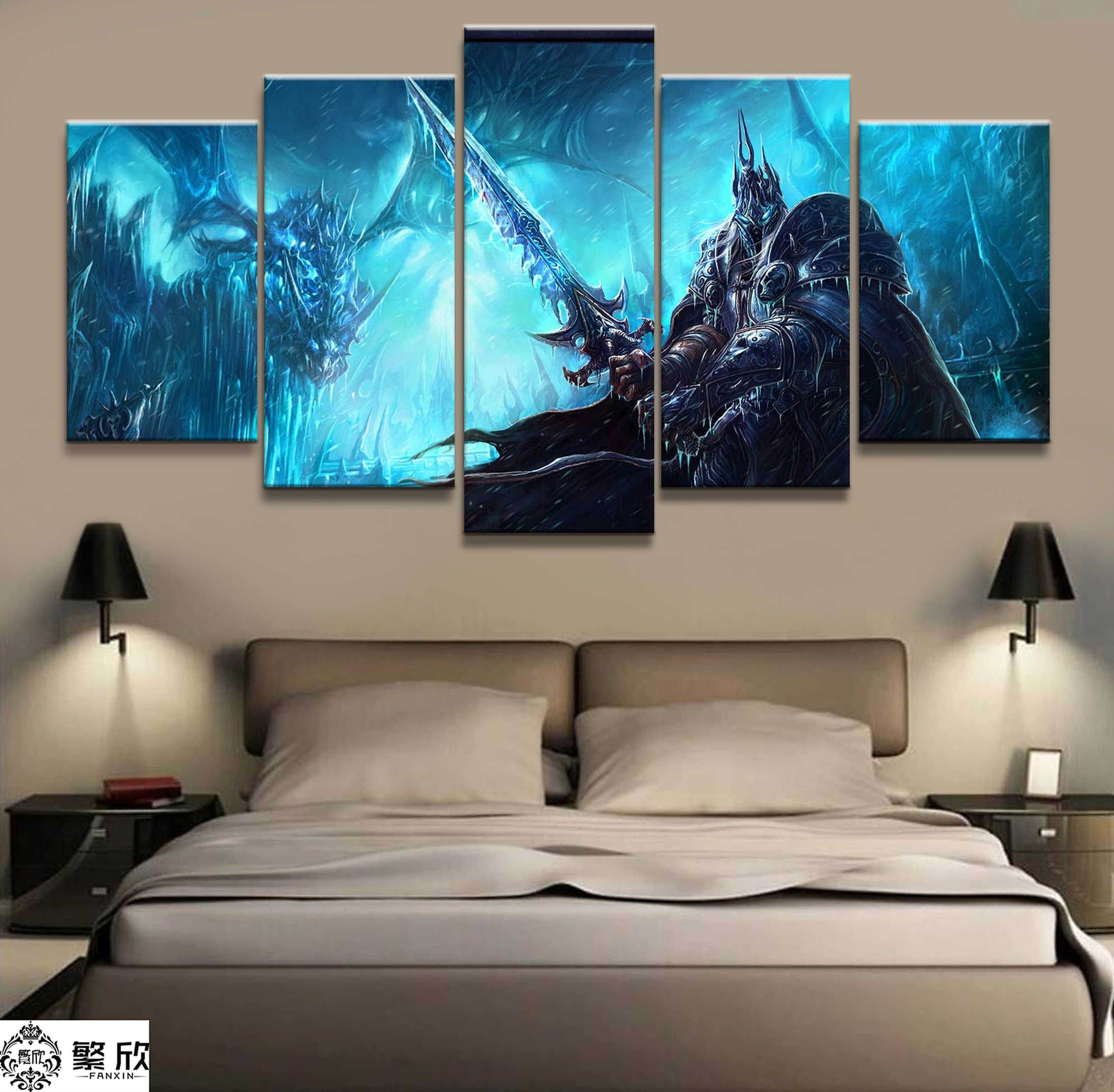 5 piece Video Trò Chơi WOW Warcraft DOTA 2 Bức Tranh Áp Phích Trang Trí Bức Tranh Tường Nghệ Thuật Phòng Tường Trang Trí Nội Thất Canvas vẽ tranh bán buôn