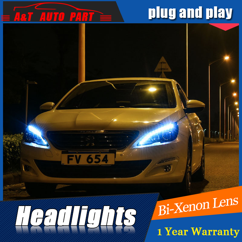 Car Styling For Peugeot 408 headlight assembly For 408 LED head lamp Angel eye led DRL front light H7 with hid kit 2 pcs.