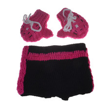 Baby Boxing Photography Props Cotton Fighter Glove Pants Knitted Crochet Sport Props Suit Infant Custume Set