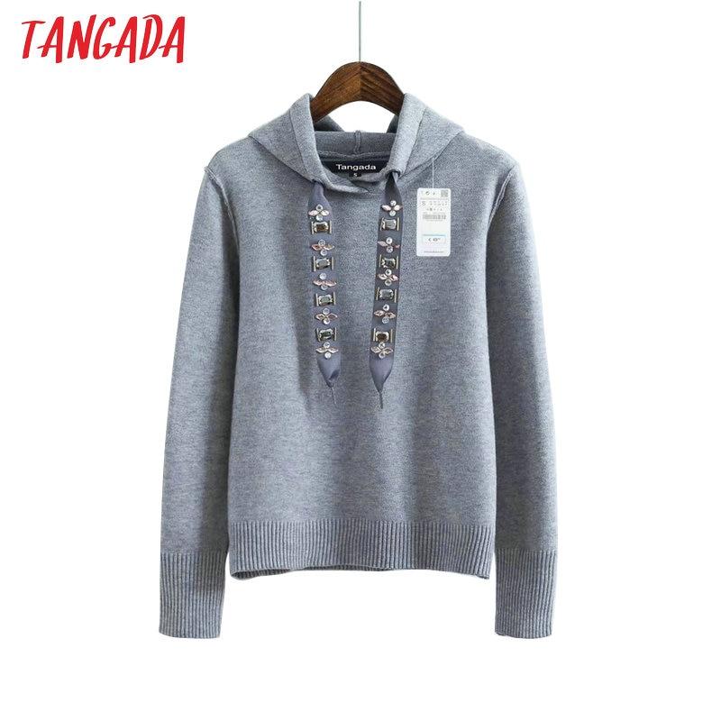 Tangada  Womens Hoodie Sweatshirts Hooded Long Sleeve Beading Black Pullovers Women Female Casual Sweat Femme Autumn RY11