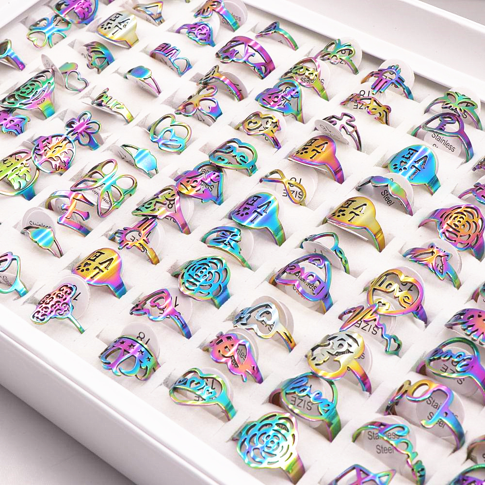 50Pcs/lot Mix Random Style Laser Cut Pattern Rainbow Color Stainless Steel Rings Women Party Ring