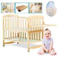 Beedome Pine Baby bed with shelf, can extend to 1.4meter kids bed, rocking baby bed with 4 wheels, natural baby cot