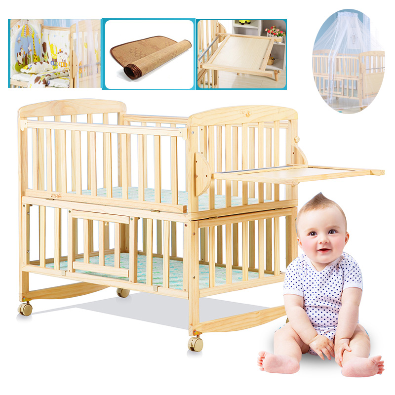 Beedome Pine Baby bed with shelf, can extend to 1.4meter kids bed, rocking baby bed with 4 wheels, natural baby cot bed