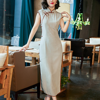 Vintage Dress Woman 2019 Chinese Style Summer Stand collar Rayon High split Elegant Slim Cheongsam Dresses