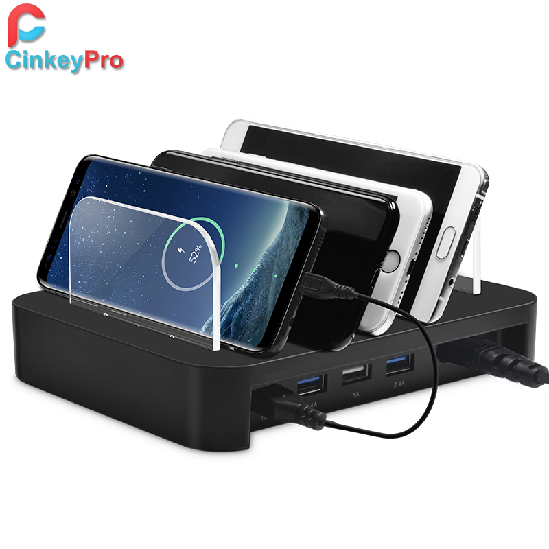 CinkeyPro Tables USB Charger 4-Ports Fast Charging Station for iPhone iPad Samsung