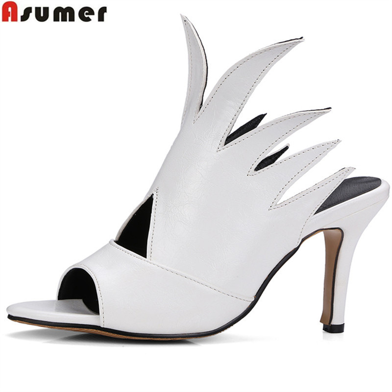 где купить ASUMER black wine red fashion summer ladies shoes peep toe elegant prom shoes thin heel women high heels sandals size 33-46 дешево