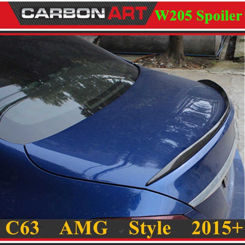 C63 AMG Style Replacement Mercedes W205 Carbon Fiber Spoiler For 2015 2016 2017 Benz C Class 4 door Trunk Lid