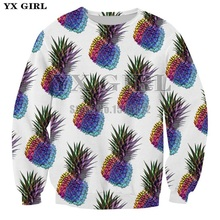 YX Girl Drop shipping Plus size 7XL Women Men O-Neck Casual Sweatshirt 3d Print Fruit Pineapple Pullover Long Sleeve Sportswear