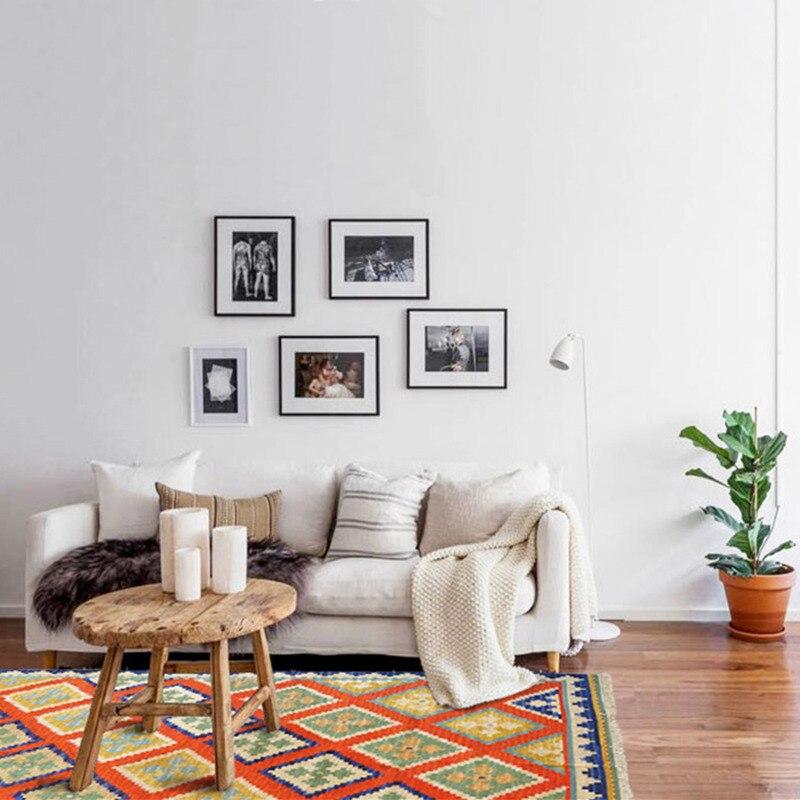 Ins Nordique géométrique ethnique style maison laine main-tissé table basse de salon chambre kilim tapis tapis gc137kli11yg2