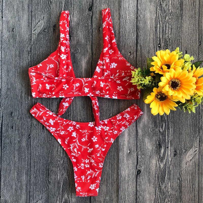 Rouge floral cravate g string bikini maillot de bain femme jambe haute taille haute brésilienne push up bikini deux pièces maillot de bain taille haute