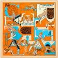 New brand Twill Silk Scarf square echarpes 130 * 130cm foulard women Geometric letters leopard scarves shawls bufandas