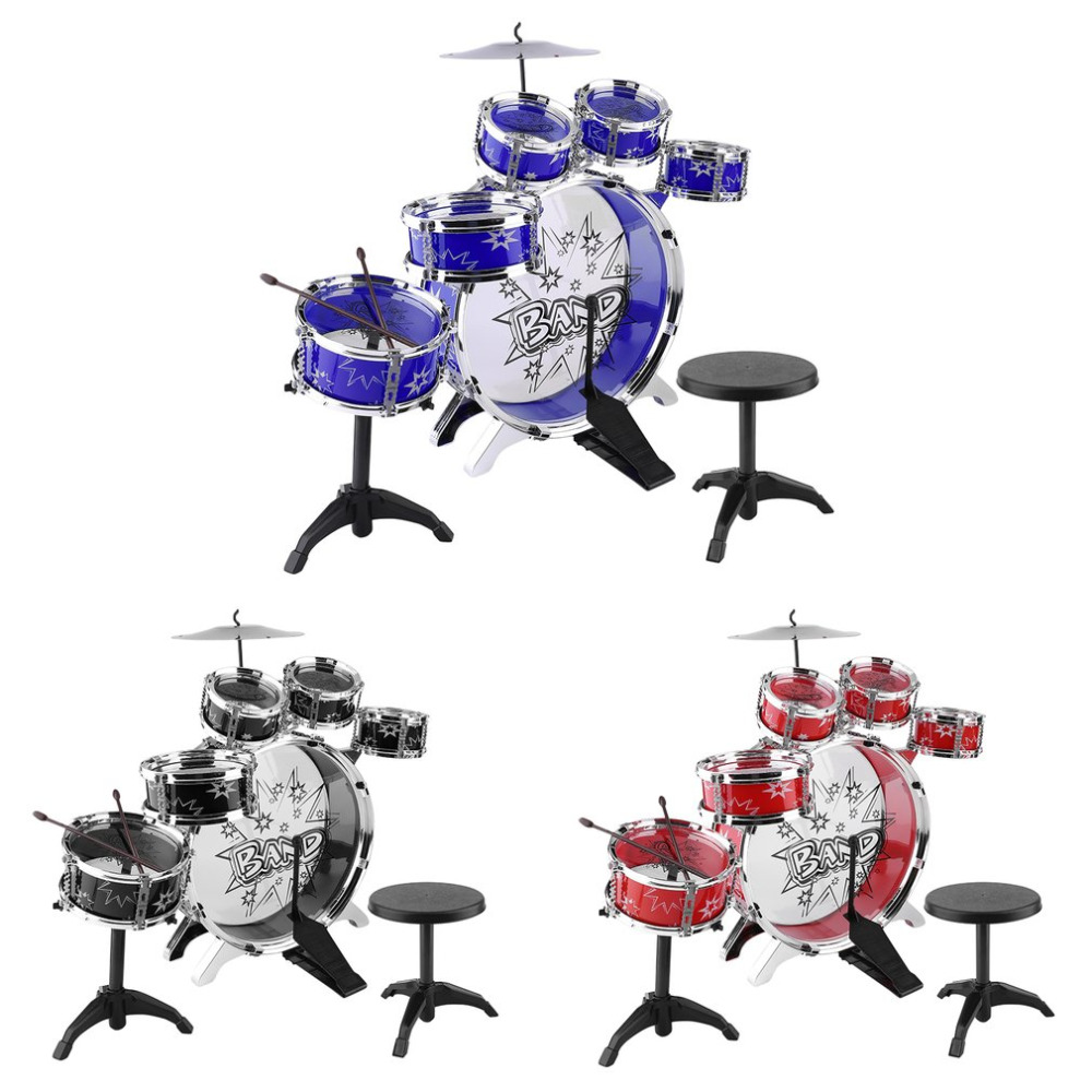 Kids Junior Drum Kit Children Tom Drums Cymbal Stool Drumsticks Set Musical Instruments Play Learning Educational Toy Gift ...