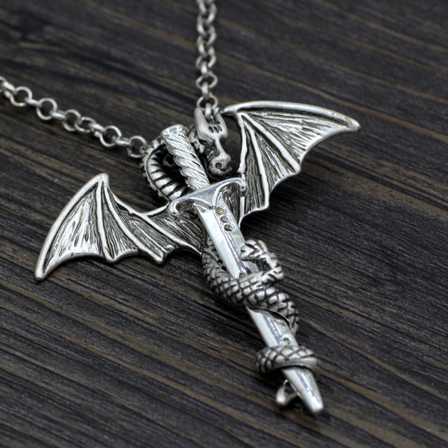 Кулон дракон и меч 1