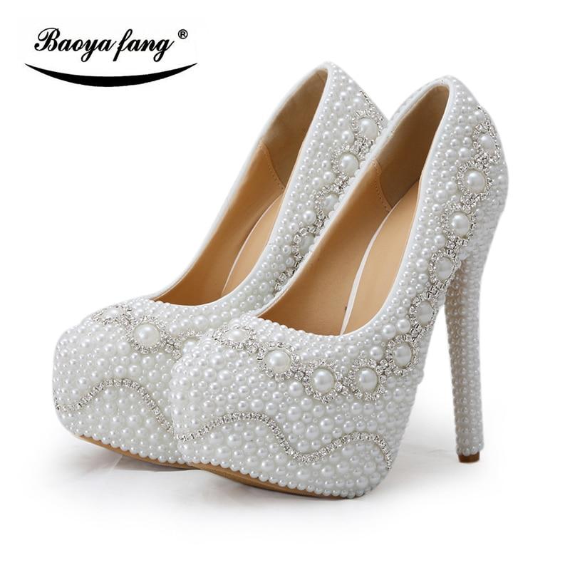 White pearl Heel crystal Women Wedding shoes Bride fashion high heel platform shoes plus size 43 ladies high Pumps baoyafang white red tassels women wedding shoes bride 12cm 14cm high heels platform shoes woman high pumps female shoes