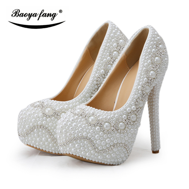White pearl Heel crystal Women Wedding shoes Bride fashion high heel  platform shoes plus size 43 ladies high Pumps bdef43722d5a