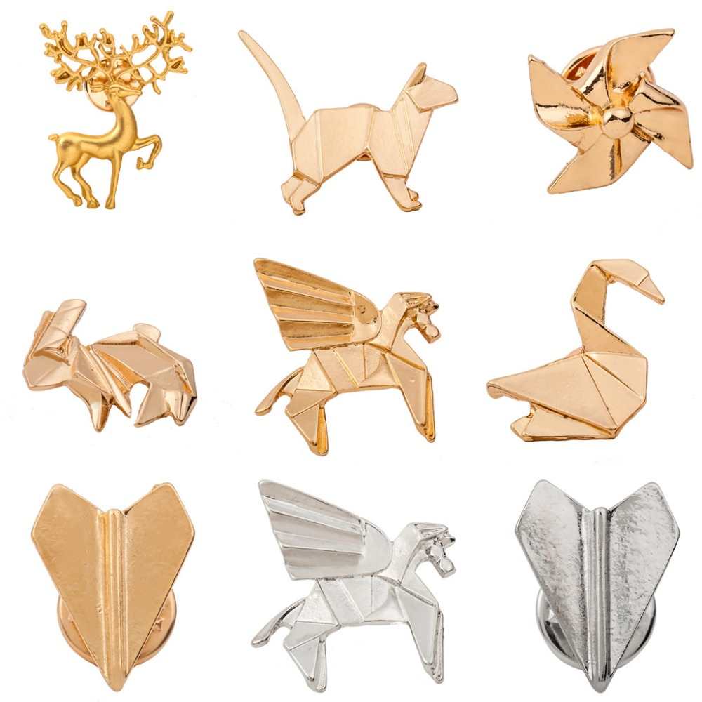 Linnor New Design Gold Metal 3D Origami Brooches Pins ...