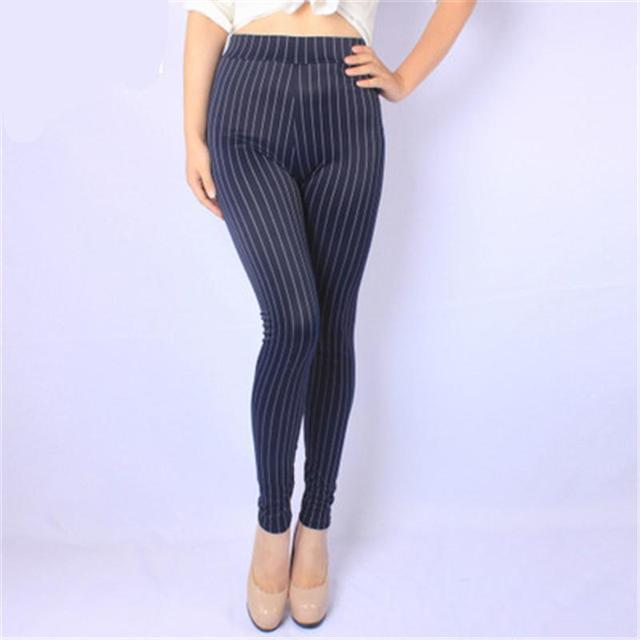 The New Vertical Stripes BIG SIZE Plus Velvet Elastic Leggings NO Imitate Cowboy Ball Leggings