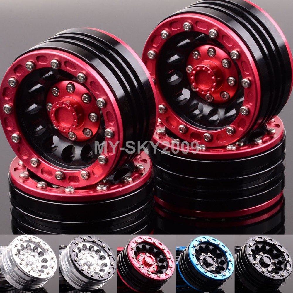 4pcs Aluminum 1.9 Beadlock Wheel Rims 1060 For 1/10 RC Truck Rock Crawler Axial SCX10 D90 Racing 4pcs rc crawler 1 10 wheel rims beadlock alloy 1 9 metal rims rock crawler wheel hub parts for rc car traxxas rc4wd scx10 cc01