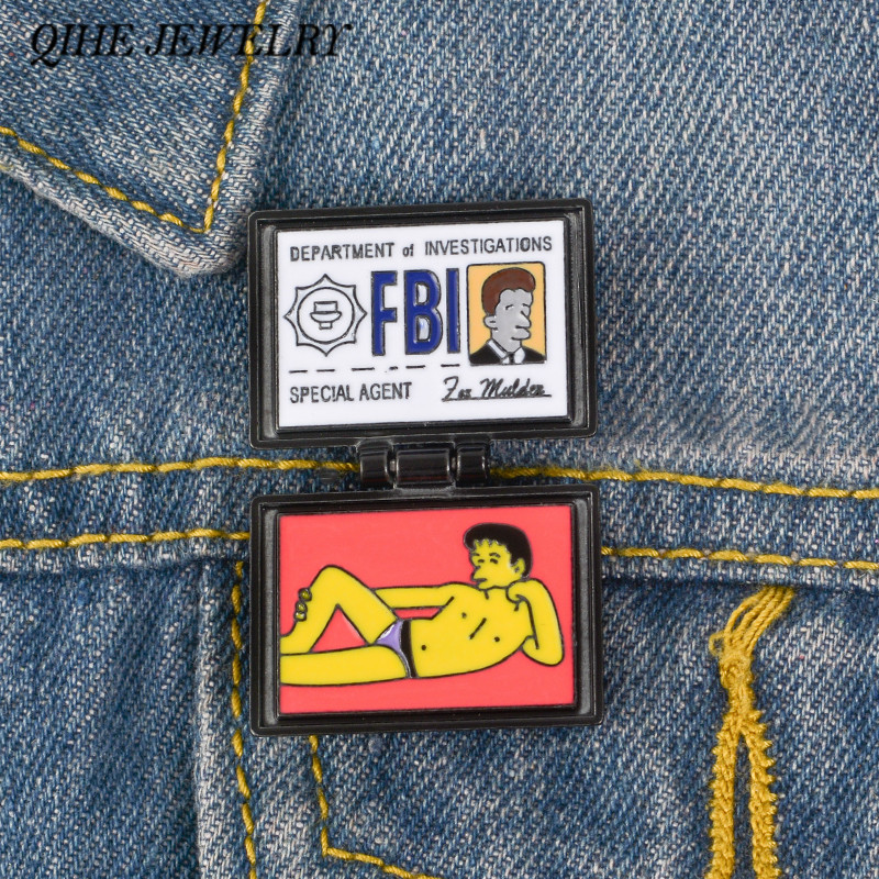 QIHE JEWELRY X-Files Pins FBI Fox Mulder ID Card Brooches Enamel pins Lapel pins Badges X-Files Jewelry Brooches for Geek