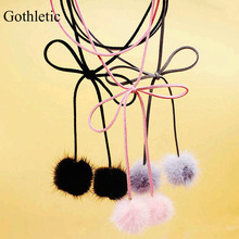 Gothletic Pom Pom Bolo Chocker Fashion Black/Grey/Pink Fur Ball Multilayer Wrapped Suede Ribbon Bow Crew Necklaces & Pendants