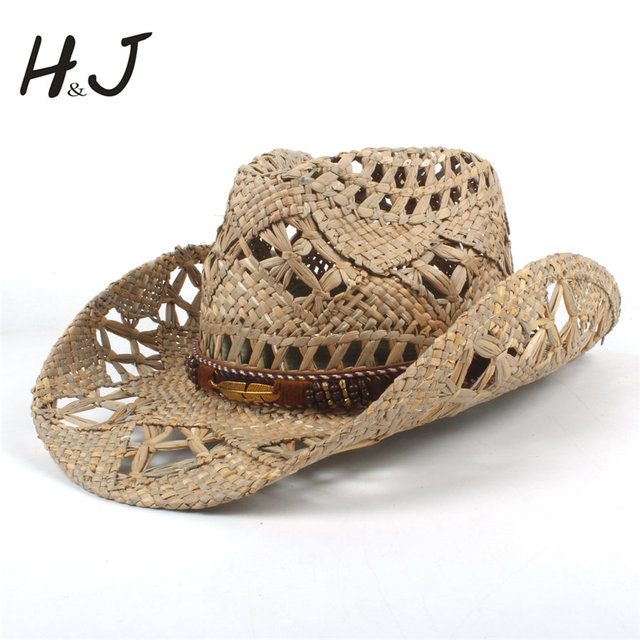 Mulheres Homens Chapéu de Cowboy da Palha de Madeira Dura Natural Tecer  Ocidental CowGirl Chapéus Para 6cc0d652d94