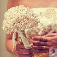 Цветы Свадебный букет невесты роскошная брошь жемчуг Кристалл бисера держа цветы