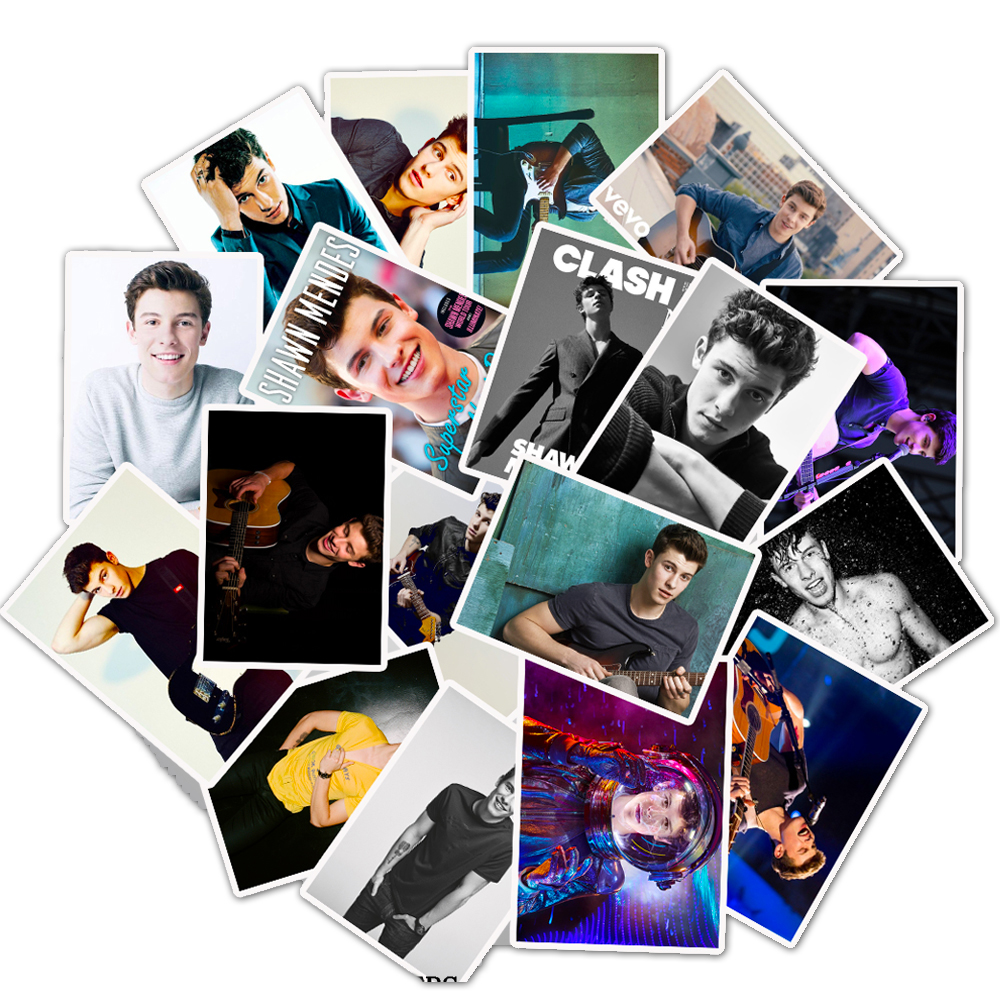 25pcs Singer Shawn Mendes Waterproof Pvc Sticker For Luggage Skateboard Phone On Laptop Moto Bicycle Wall Guitar Stickers