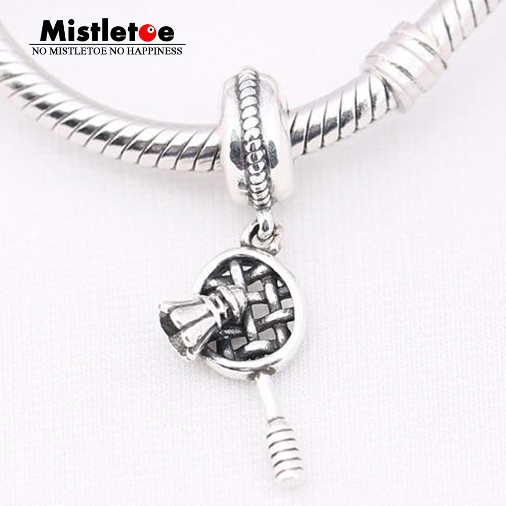 Authentic 925 Sterling Silver Badminton racket Dangle Charm Fit European Bracelets & Necklace Jewelry