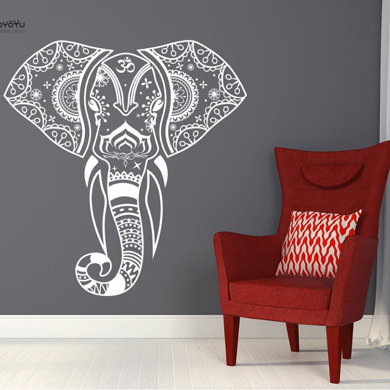 YOYOYU Vinyl Wall Sticker Elephant Mandala Pattern Removebale Decal Livingroom Bedroom Home Decoration Art Poster YO082