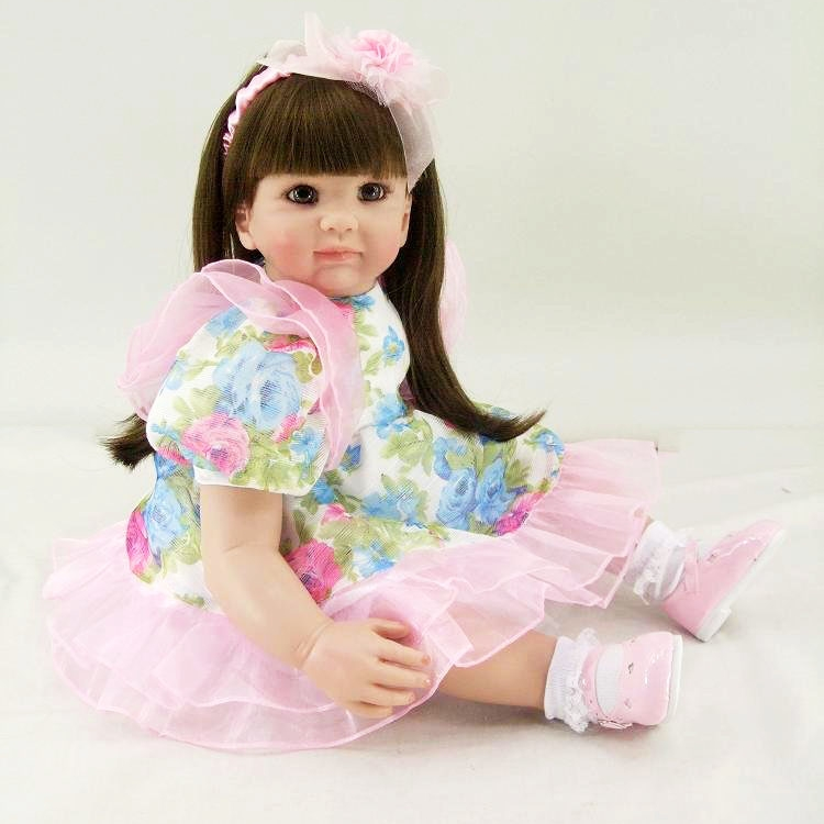 Pursue 24/60 cm Doll Vintage Princess Silicone Reborn Baby Toddler Doll Toys for Children Girl Educatio Christmas Birthday Gift pursue 22 56 cm big smile face reborn boy toddler baby doll cotton body vinyl silicone baby boy doll for children birthday gift