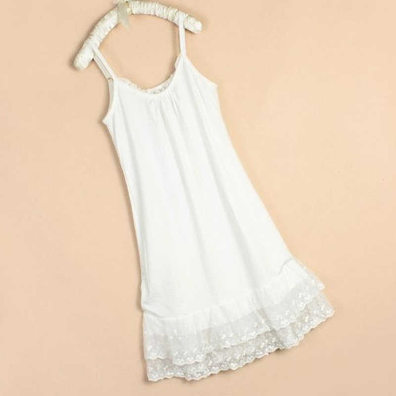 f136697f3a3 2016 summer style women s slim cotton lace with flowers slip basic  spaghetti strap basic dress plus