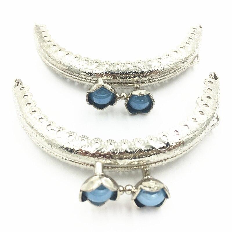 Silver Tone Metalwork Handbag Purse Handle Blue Resin Glue Metal Frame Arch Pattern Ruffled Lotus Head Luggage Accessories 8.5CM