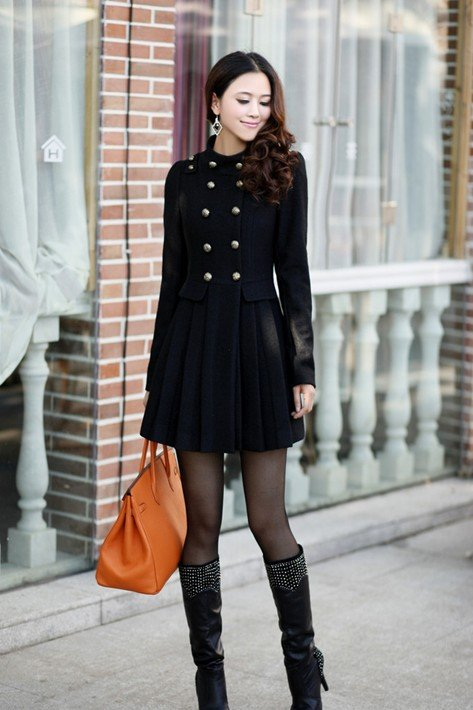 2015 New Winter Double Breasted Elegant Fashion Sweet Cute Long