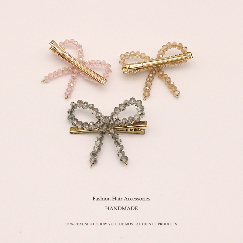 Euhra Crystal Hair clip for women 39 s Gold Copper bow knot Barrettes Pink White Crystal Rosette wedding Party hair accessories in Women 39 s Hair Accessories from Apparel Accessories