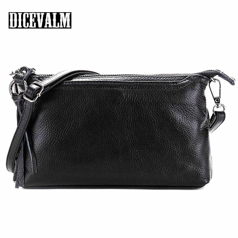 Real Genuine Leather Women Messenger Bags Crossbody For Women Shoulder Bag Small Tassel Female Handbag Cow Leather Casual Flap