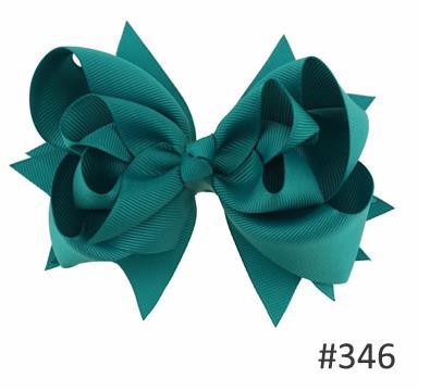 Твои банты 1 шт. 5 дюймов для девочек Однотонные бантики для волос Заколки для волос с бантом из ленты на каблуке высотой заколки для волос для детей Головные уборы Fastion женские аксессуары для волос - Цвет: 346jade