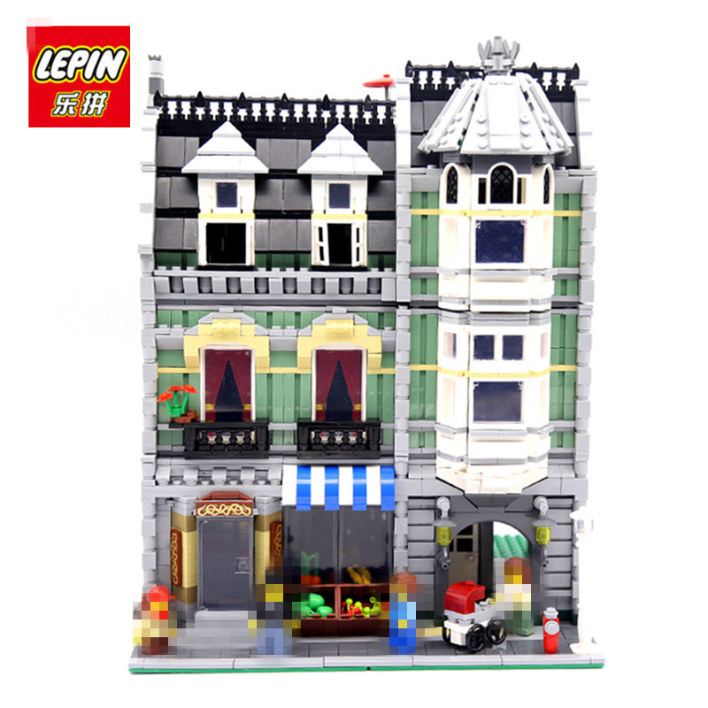 LEPIN 15008 2462PCS City Street Grocer Model Building Kits Blocks Bricks toys for children as Gift Compatible 10185 dhl lepin15008 2462pcs city street green grocer model building kits blocks bricks compatible educational toy 10185 children gift
