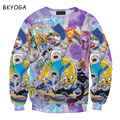 New Cartoon Adventure Time print sweat funny sweatshirt women male streetwear novelty hoodie top