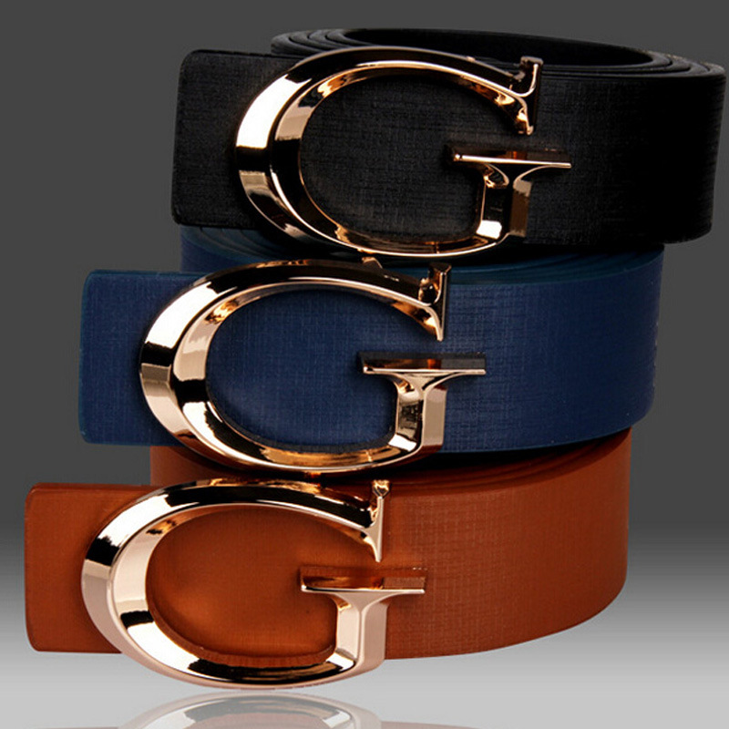 New Alphabetic Gold Buckle Belt For Men And Women Couples Waistband I-shaped Costume Accessories Waistband G Belt  Luxury Belt