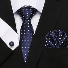 Hot Men`s Tie Blue palid 100% Silk Jacquard Woven Gravata Hanky Cufflink Set For Men Formal Wedding Party Business