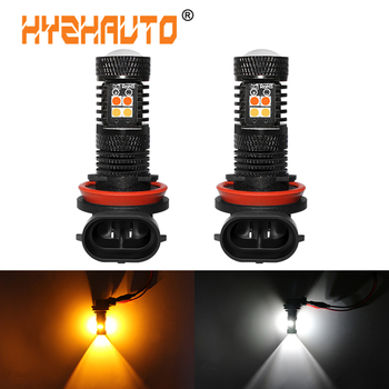 2Pcs Super Bright 9005 9006 HB4 HB3 H11 H8 LED Fog Light Bulbs White Yellow/Amber 3030 LED Auto Driving Fog lamp Dual Color image