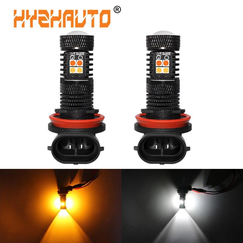 2Pcs Super Helle 9005 9006 HB4 HB3 H11 H8 LED Nebel Glühbirnen Weiß Gelb/Bernstein 3030 LED auto Fahren Nebel lampe Dual Farbe