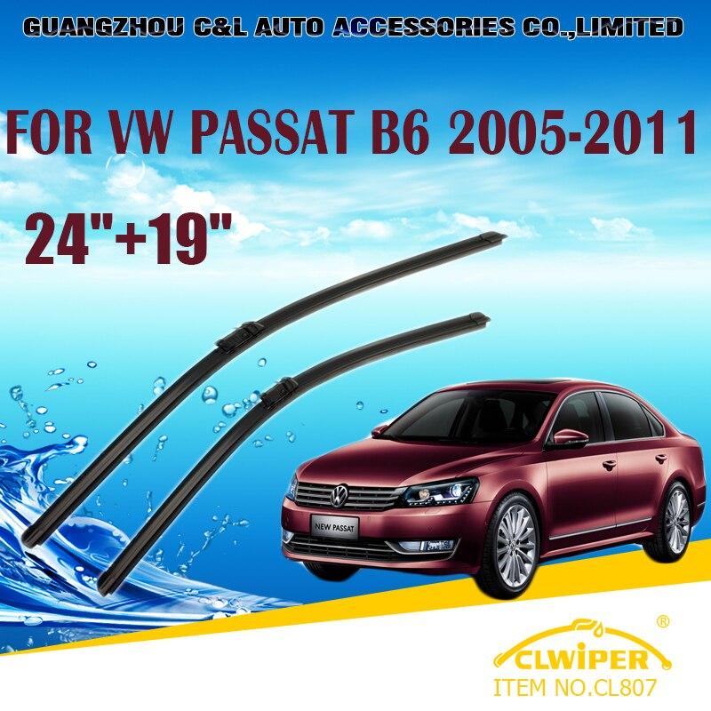 """Prix pour Lames d'essuie-glace Pour VW Volkswagen PASSAT B6 (2005-2011) 2006 2007 08 09 2010 Pare-Brise D'essuie-Glace D'essuie-glace 19 """"+ 24"""" voitures styling"""